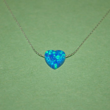 Blue OPAL HEART CHARM with Sterling Silver 925 0.6mm Fine Chain Necklace. Real Genuine Solid Silver. Free Shipping Worldwide.