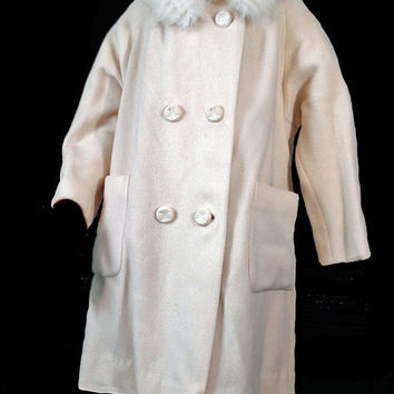 Vintage 50s Coat Genuine Fur Collar Off White Wool Double Breasted Coat L XL Swing Coat Large Pockets