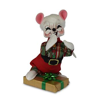 Annalee Dolls 6in 2018 Christmas Plaid Tidings Gift Boy Mouse Plush New with Tag