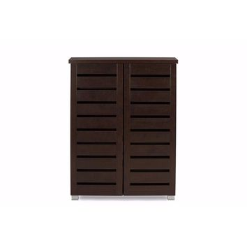 Adalwin Modern and 2-Door Dark Brown Wooden Entryway Shoes Storage Cabinet By Baxton Studio