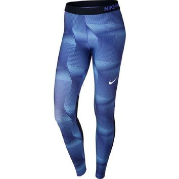 NIke Womens Pro Cool Pyramid Blue Training Tights