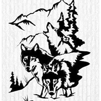 Wolves Wolf Moon Pack Man Cave Animal Rustic Cabin Lodge Mountains Hunting Vinyl Wall Art Sticker Decal Graphic Home Decor