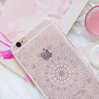 White Lace Hollow Transparent Iphone Case for 6 6s plus