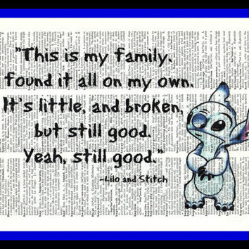 Buy Any 2 Prints get 1 Free Family Lilo and Stitch Quote  Hand Drawn Vintage Dictionary Art