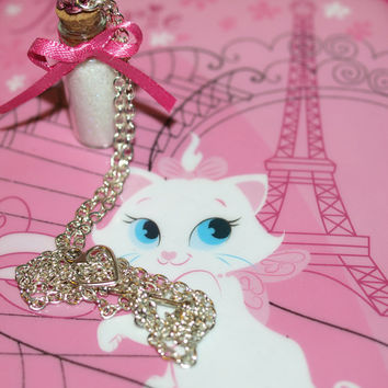 Aristocats Marie Magical Necklace, Lady, Sassy White and Pink, Disney Inspired, by Life is the Bubbles