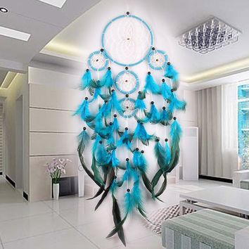 Handmade Blue White Fluff Dream Catcher 5 Rings Net Wall Hanging Car Decor Craft Home Room Decoration Craft