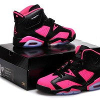 Air Jordan 6 Retro AJ6 Black/Pink Women Basketball Shoes US 5.5-8