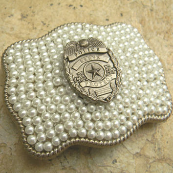 Police Officer Law Enforcement  Western Pearl Badge Buckle, Police Belt Buckle, Cop Wife, Police Girlfriend, Police Wedding, Policeman Gifts