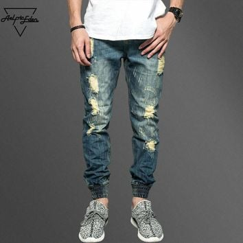 Aelfric Eden Street Do Old Holes Skinny Jeans Men Kanye West Feet Ripped Jeans Man Joggers Trousers Casual Calca Jeans Masculina