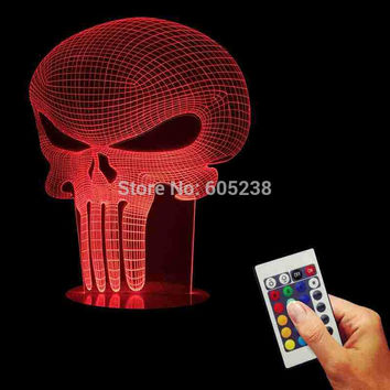 Free Shipping 1Piece 3D Hologram Illusion Punisher Skull Table Lamp Acrylic LED USB Table Lamp