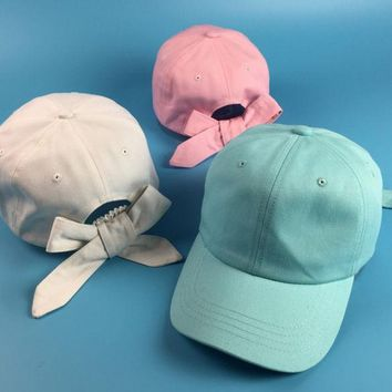 DCCKL3Z Fashion Women Cute Bowknot Curved Hat Summer Solid Candy Color Sun-shading Baseball Cap Female Cotton Visors Golf Lovely Hats
