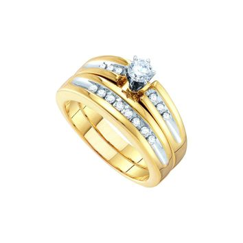 10kt White Gold His & Hers Round Diamond Solitaire Two-tone Matching Bridal Wedding Ring Band Set 1/2 Cttw