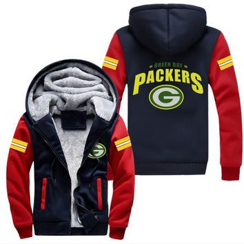 Dropshiping Foot Ball Packers Jacket Super Warm Thicken Fleece Zip Up Hoodie Men Women Coat Free Shipping USA Plus size
