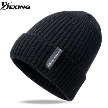 [Dexing]Men's fur lining Thicken Winter hat Wool Knitted Hat Male Beanies for men Cap skullies beanies Simple Hats For Men