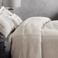 Wentworth Crest Vintage-Washed Belgian Linen Bedding Collection