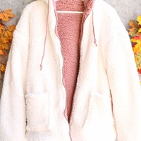 Reversible Ultra Soft Sherpa Zip Up Hoodie Jacket - Ivory/Mauve