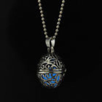 Blue glow in the dark orb pendant necklace, key ring, or rear view mirror hanger