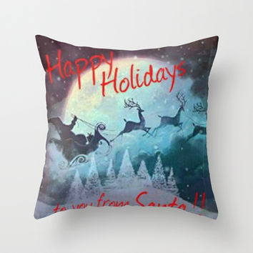 Happy Holidays To You From Santa Throw Pillow by Lilbudscorner