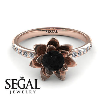 Unique Engagement Ring 14K Red Gold Flower Black Diamond With White diamond - Lotus