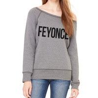 Feyonce Relaxed Wide Neck Crew Sweatshirt