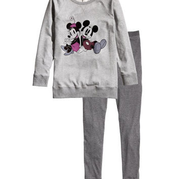 H&M - Pajamas with Printed Design - Gray - Ladies