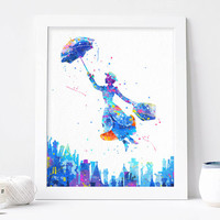 Mary Poppins Watercolor Art Print nursery Wall decor, Marry poppins Watercolor Print, Disney Characters Poster, Instant download