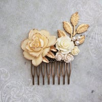 Bridal Hair Comb Ivory Cream Rose Comb Vintage Style Country Chic Bridesmaid Gift Gold and Cream Floral Collage Gold Branch Pearl Comb