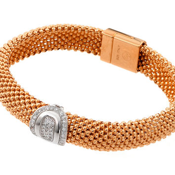 .925 Sterling Silver Rose Gold Plated Oval Micro Pave Clear Cubic Zirconia Beaded Italian Bracelet: SOD