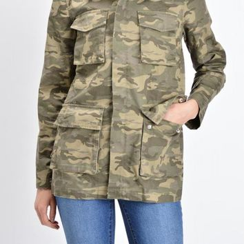Women's Hooded Cargo Jacket RJK502 - D9A