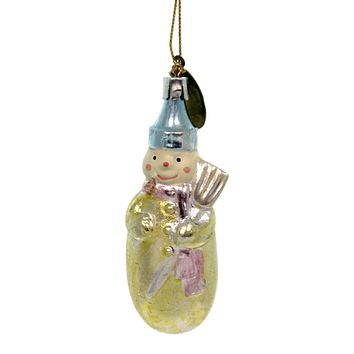 Holiday Ornaments SNOWMAN CHRISTMAS Polyresin Glittered Gold Broom 33333S A