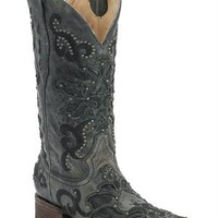 Corral Black Crater Overlay With Studs Cowgirl Boot