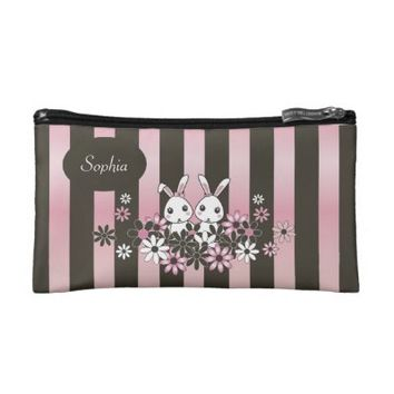 Cute Bunnies Personalized Cosmetic Bags for Girls: Name Template Girly Bags for Makeup: Easter or Birthday Gift Idea