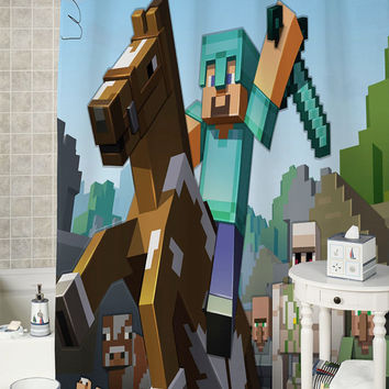 Minecraft Mine Craft Game special shower curtains that will make your bathroom adorable.