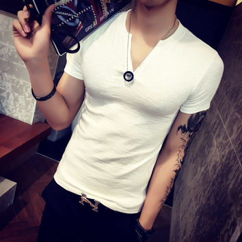 Summer Men's Fashion Men T-shirts V-neck Short Sleeve Bottoming Shirt [6849198531]
