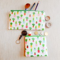 Cactus Pouch/ Make Up Bag/ Pencil Case/ Gift for Her/ Gift for Mom/ Gift for Women/ Gift for Wife/ Best Friend Gift/ School Supply/ Gift