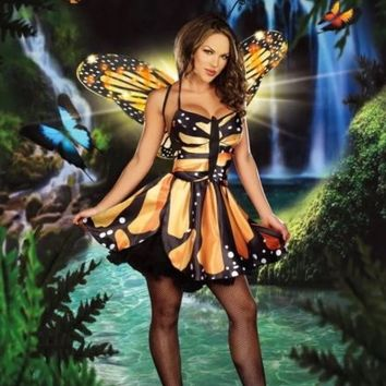 Monarch Butterfly Costume Adult Fairy Halloween Costume Sexy Wings Dress XS/S