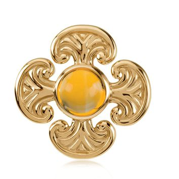 14k Yellow Gold and Citrine Maltese Cross Pendant