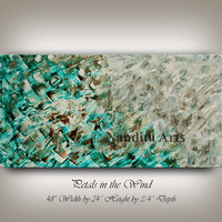 "Painting ""Petals in the Wind"" Oil Painting by Nandita, Turquoise amazing artwork 48x24 inch textured art on canvas"