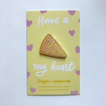 Iridescent glitter pizza pin