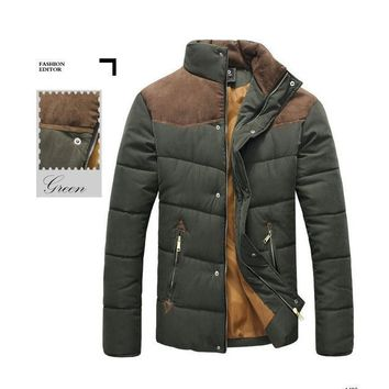 Mens Stand Collar Puffer Jacket in Army Green