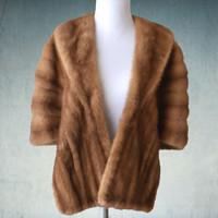 1950s Mink Stole Light Brown Blonde Bridal Fur