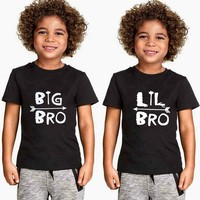 """""""Big Brother/Little Brother"""" Letter Print Kids T Shirt Boy Girl T-Shirt Casual Tee for Children Clothes"""