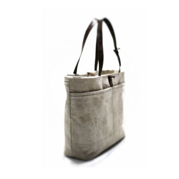 Tote bag with leather handles, canvas bag, recycled bag