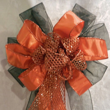 Fall Halloween bow sheer black, burnt orange and orange mesh ribbons