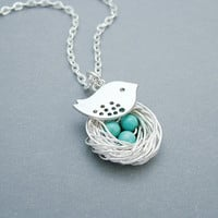 Silver Bird Nest Necklace with Turquoise by SweetBlueBirdJewelry