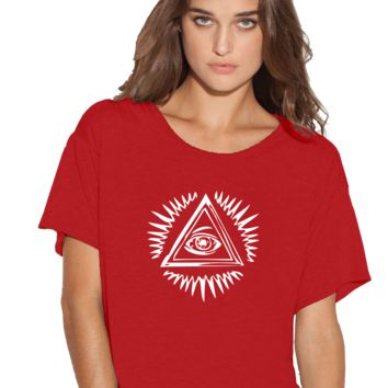 All seeing masons eye Boxy Flowy ladies Tshirt