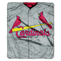 St. Louis Cardinals MLB Royal Plush Raschel Blanket (Jersey Series) (50in x 60in)