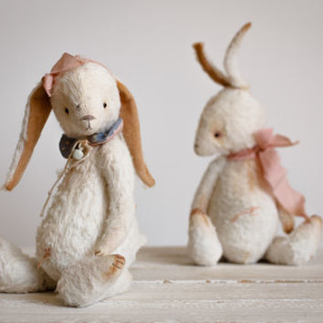 Made to Order White Mohair Bunny Lida Artist Teddy Bears - Stuffed Rabbit - Soft Toy Bunny - Stuffed Animal