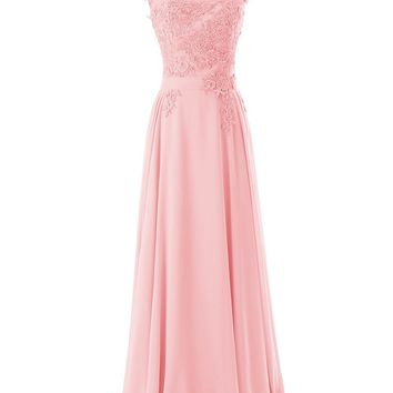 Diyouth Long Bridesmaid Chiffon Prom Dresses Scoop Evening Gowns with Appliques