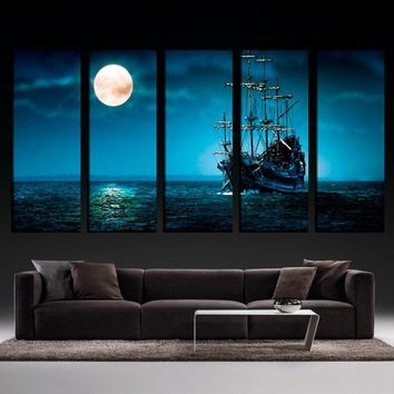 5 Panels Large Size Beautiful Moonlight Ocean Ship Modern Creative Landscape Photos Picture Wall Art Picture Modern Home Decor L